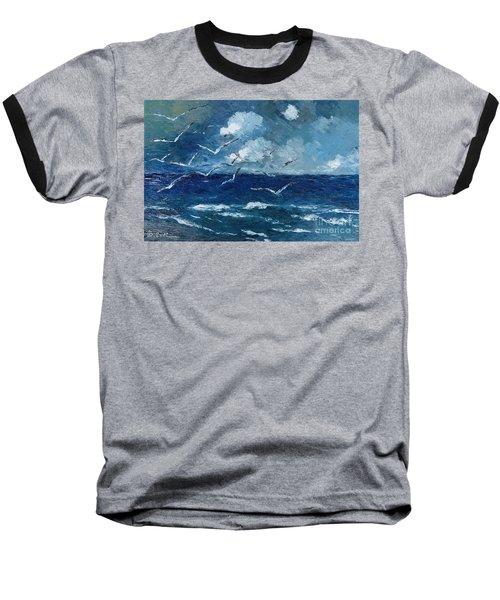 Seagulls Over Adriatic Sea Baseball T-Shirt by AmaS Art
