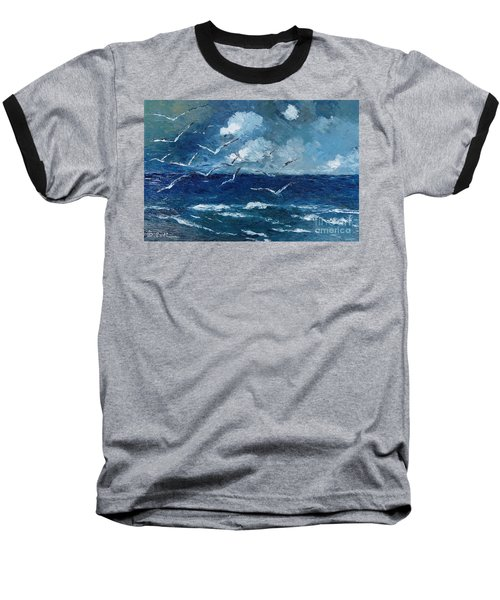 Seagulls Over Adriatic Sea Baseball T-Shirt