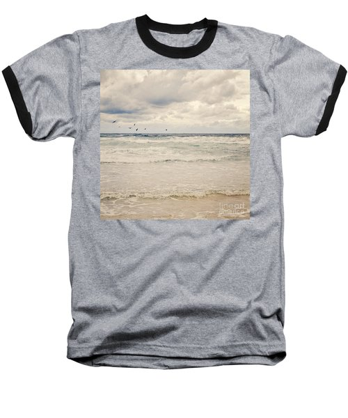 Seagulls Take Flight Over The Sea Baseball T-Shirt