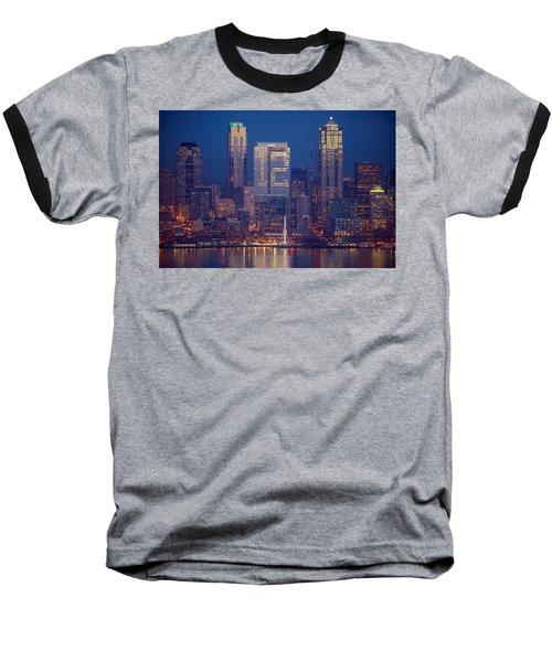 Seahawks 12th Man Seattle Skyline At Dusk Baseball T-Shirt by Mike Reid