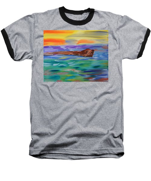 Baseball T-Shirt featuring the painting Sunny Sea Lion by Meryl Goudey