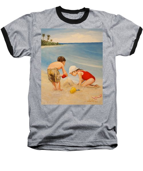 Baseball T-Shirt featuring the painting Seashell Sand And A Solo Cup by Alan Lakin