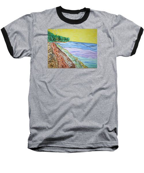 Baseball T-Shirt featuring the painting Seashore Bright Sky by Stormm Bradshaw