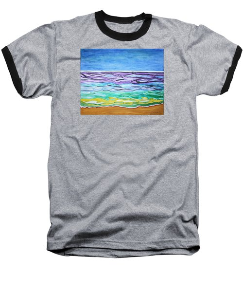 Baseball T-Shirt featuring the painting Seashore Blue Sky by Stormm Bradshaw