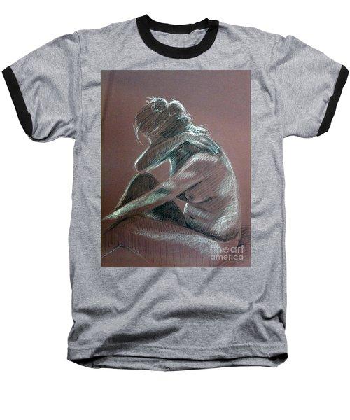 Seated Woman Side Light Baseball T-Shirt