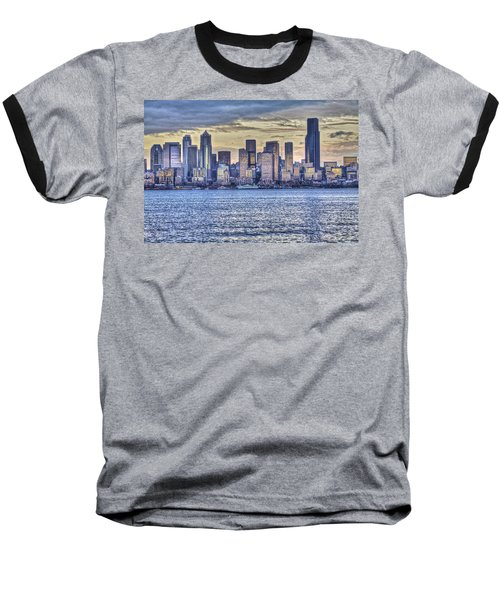 Seattle At Twilight From Alki Beach Baseball T-Shirt