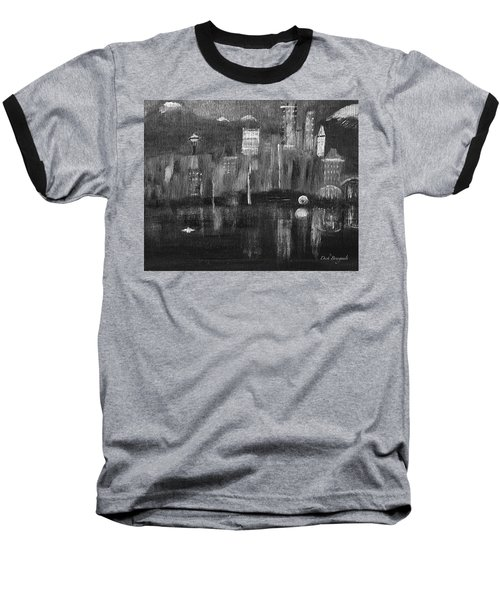 Seattle Black And White Baseball T-Shirt by Dick Bourgault