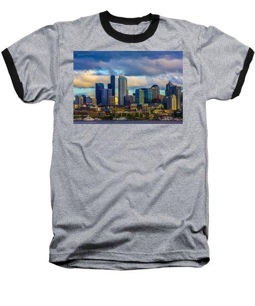 Seattle Cityscape Baseball T-Shirt