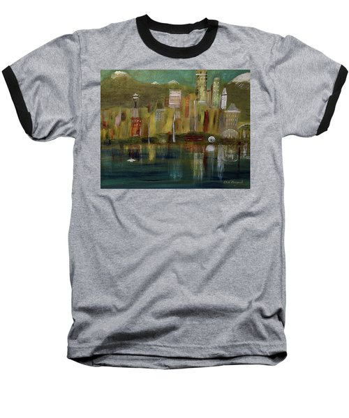 Seattle Cityscape Baseball T-Shirt by Dick Bourgault