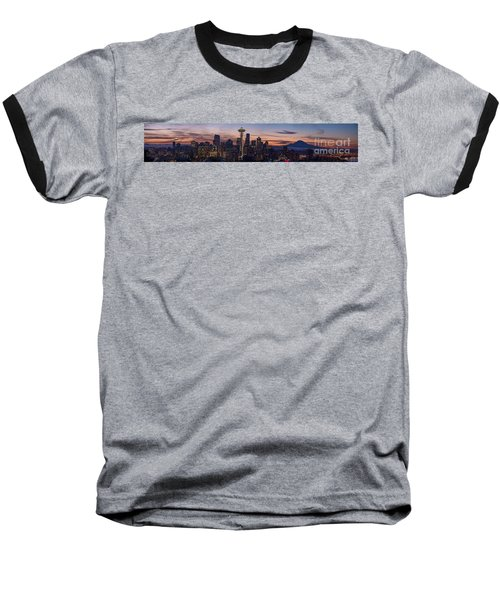 Seattle Cityscape Morning Light Baseball T-Shirt
