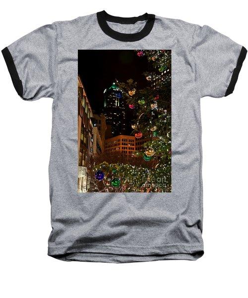 Seattle Downtown Christmas Time Art Prints Baseball T-Shirt by Valerie Garner