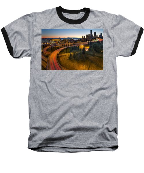 Baseball T-Shirt featuring the photograph Seattle Downtown Highway Traffic Light Trails by JPLDesigns