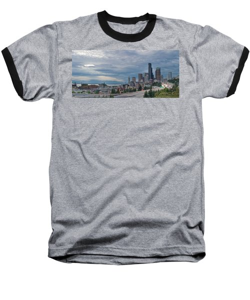 Baseball T-Shirt featuring the photograph Seattle Downtown Skyline And Freeway Panorama by JPLDesigns