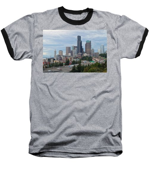 Baseball T-Shirt featuring the photograph Seattle Downtown Skyline On A Cloudy Day by JPLDesigns