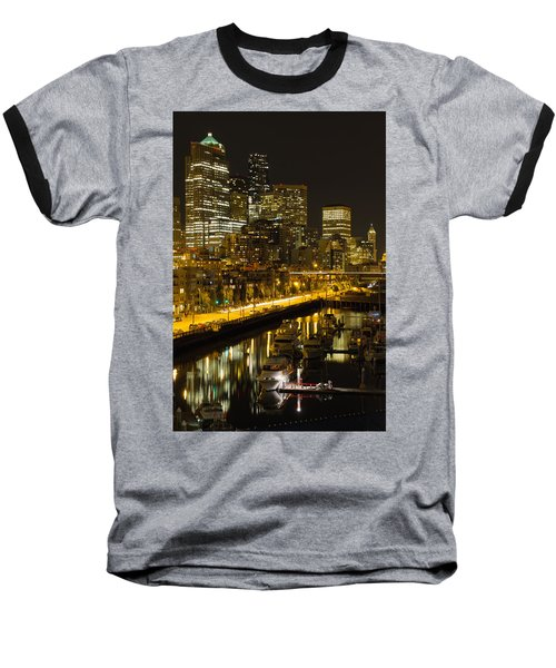 Baseball T-Shirt featuring the photograph Seattle Downtown Waterfront Skyline At Night by JPLDesigns