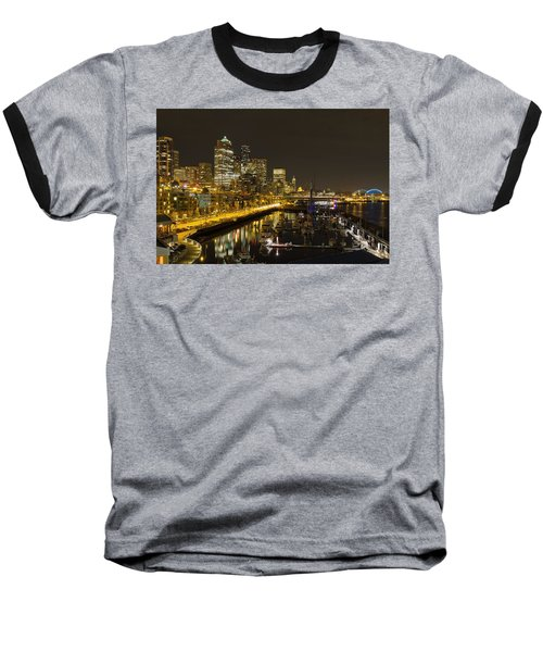 Baseball T-Shirt featuring the photograph Seattle Downtown Waterfront Skyline At Night Reflection by JPLDesigns