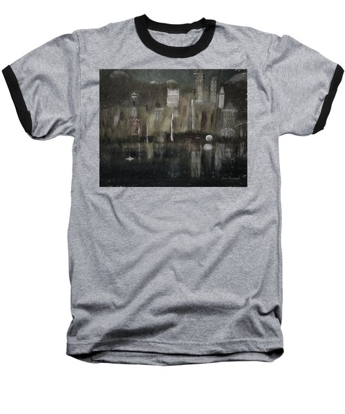 Seattle In The Rain Cityscape Baseball T-Shirt by Dick Bourgault