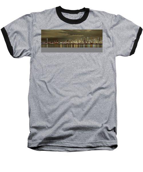 Seattle Lights At Night From Alki Baseball T-Shirt