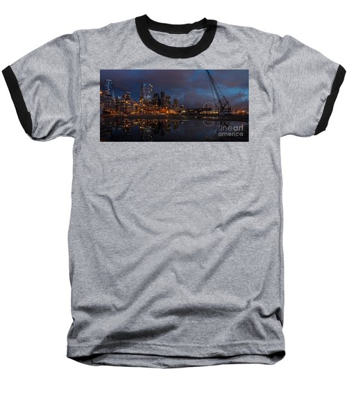 Seattle Night Skyline Baseball T-Shirt by Mike Reid