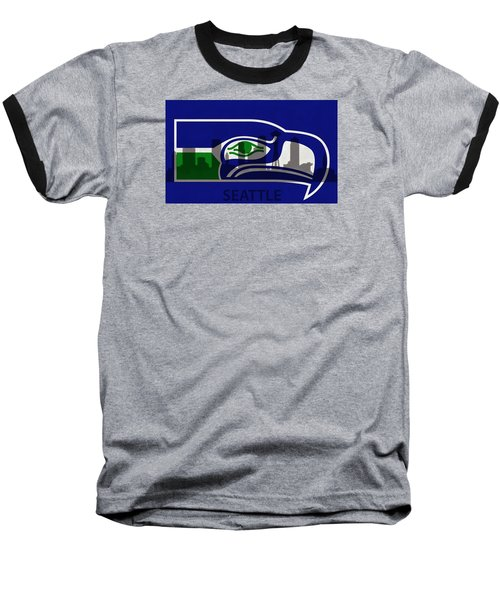 Seattle Seahawks On Seattle Skyline Baseball T-Shirt
