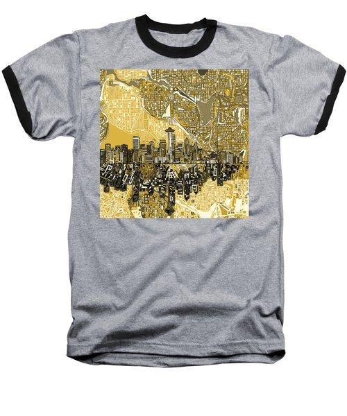 Seattle Skyline Abstract 2 Baseball T-Shirt