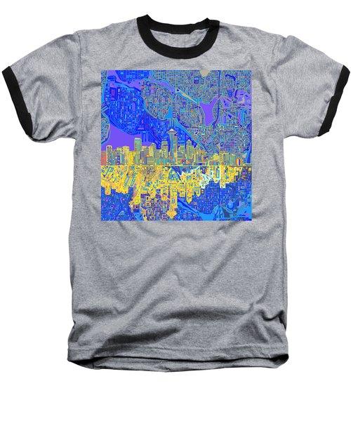 Seattle Skyline Abstract 6 Baseball T-Shirt