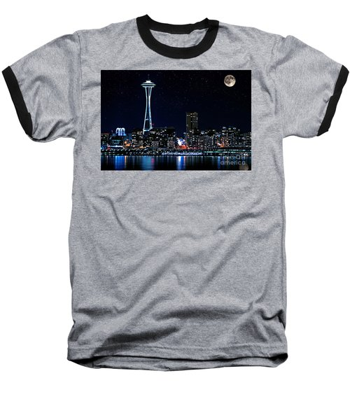 Seattle Skyline At Night With Full Moon Baseball T-Shirt