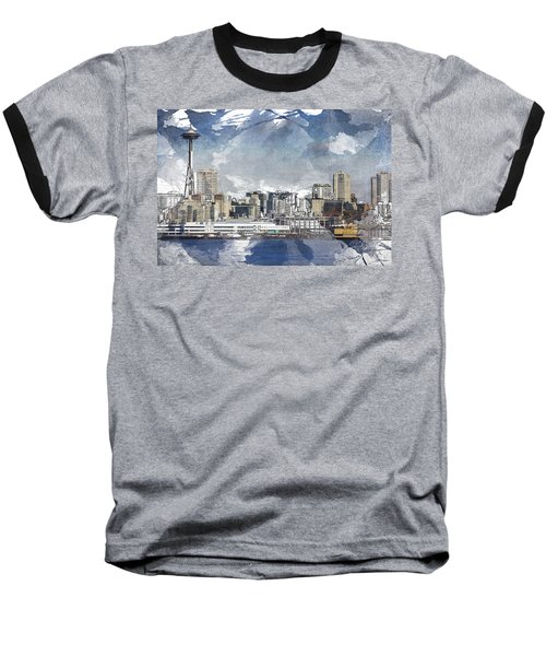 Seattle Skyline Freeform Baseball T-Shirt