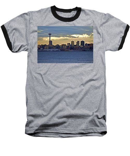 Seattle Skyline In Twilight Baseball T-Shirt