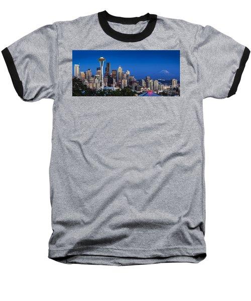 Seattle Skyline Panoramic Baseball T-Shirt
