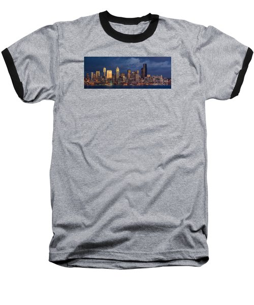 Seattle Skyline Sunset Detail Baseball T-Shirt by Mike Reid