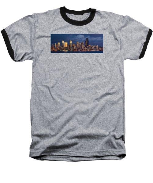 Seattle Skyline Sunset Detail Baseball T-Shirt