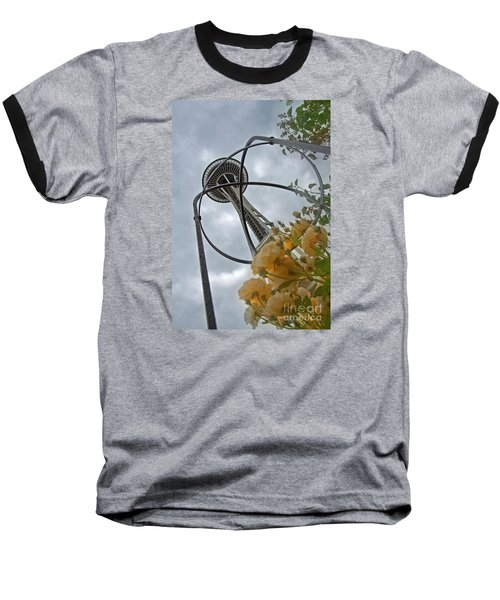 Seattle Spaceneedle With Watercolor Effect Yellow Roses Baseball T-Shirt by Valerie Garner