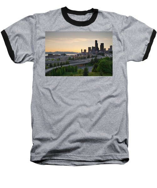 Baseball T-Shirt featuring the photograph Seattle Washington Downtown City Sunset by JPLDesigns