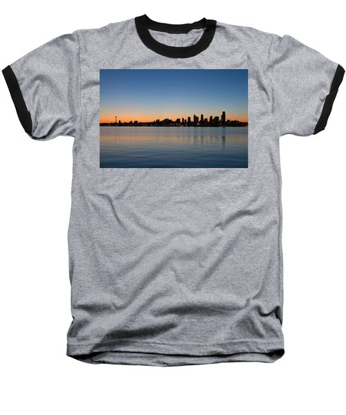 Baseball T-Shirt featuring the photograph Seattle Washington Waterfront Skyline At Sunrise Panorama by JPLDesigns