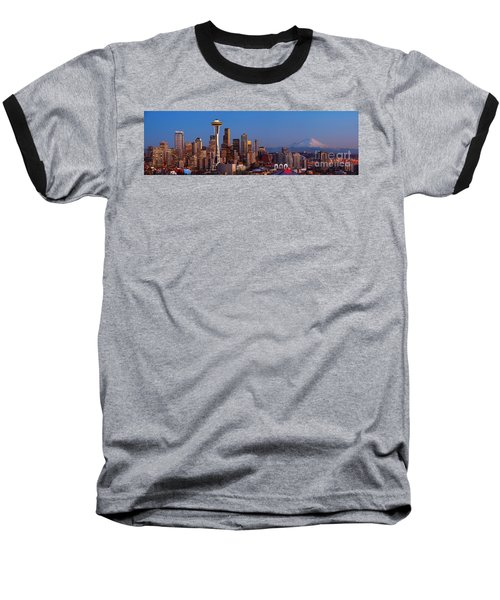Seattle Winter Evening Panorama Baseball T-Shirt