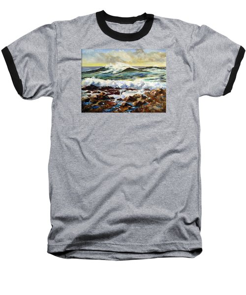 Baseball T-Shirt featuring the painting Seawall by Lee Piper