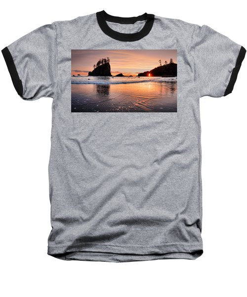 Second Beach Sunset Baseball T-Shirt by Leland D Howard