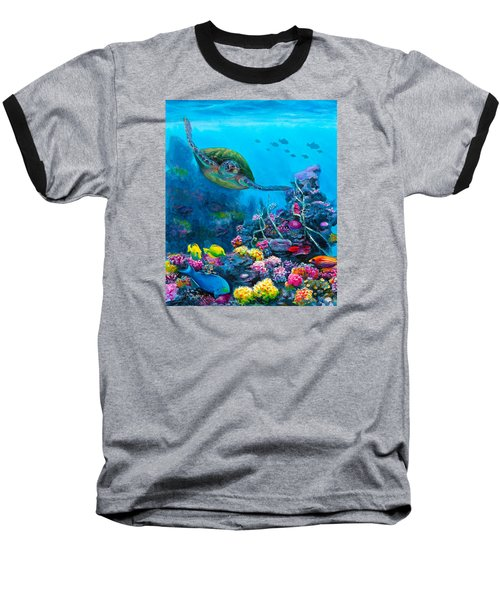 Secret Sanctuary - Hawaiian Green Sea Turtle And Reef Baseball T-Shirt by Karen Whitworth