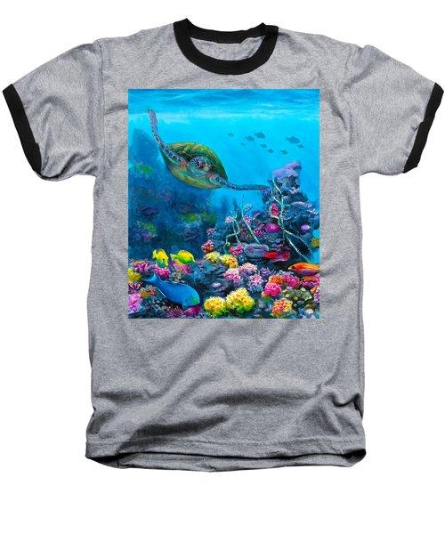 Secret Sanctuary - Hawaiian Green Sea Turtle And Reef Baseball T-Shirt