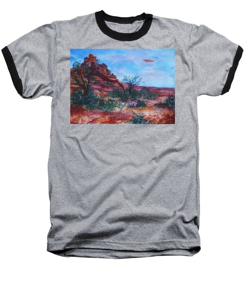 Sedona Red Rocks - Impression Of Bell Rock Baseball T-Shirt by Ellen Levinson