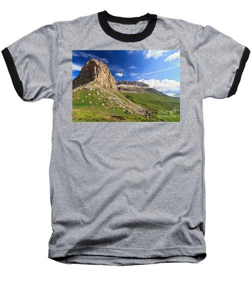 Baseball T-Shirt featuring the photograph Sella Mountain And Pordoi Pass by Antonio Scarpi