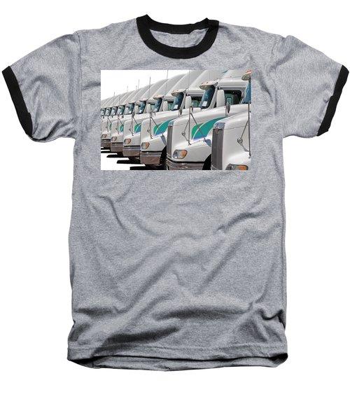 Semi Truck Fleet Baseball T-Shirt by Gunter Nezhoda