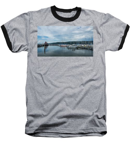 Seneca Lake Harbor - Watkins Glen - Wide Angle Baseball T-Shirt by Photographic Arts And Design Studio