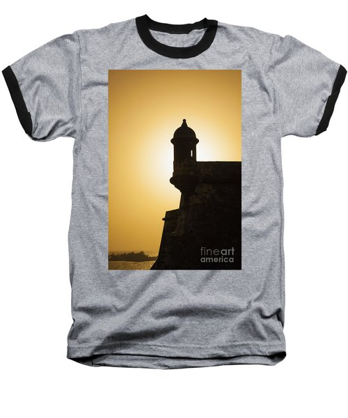Sentry Box At Sunset At El Morro Fortress In Old San Juan Baseball T-Shirt