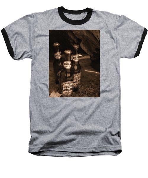 Baseball T-Shirt featuring the photograph Sepia Bottles by Rachel Mirror