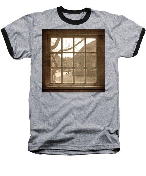 Sepia Colonial Scene Through Antique Window Baseball T-Shirt by Brooke T Ryan