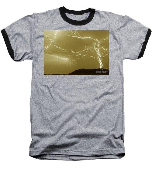 Sepia Converging Lightning Baseball T-Shirt
