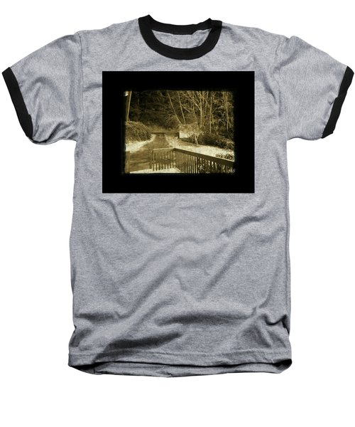 Baseball T-Shirt featuring the photograph Sepia - Country Road First Snow by Absinthe Art By Michelle LeAnn Scott