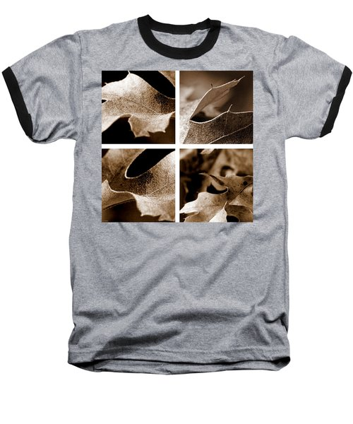 Baseball T-Shirt featuring the photograph Sepia Leaf Collage by Lauren Radke